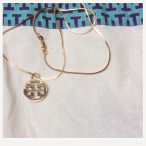 """AUTH Tory Burch pendant on new 20"""" 14kgp chain"""